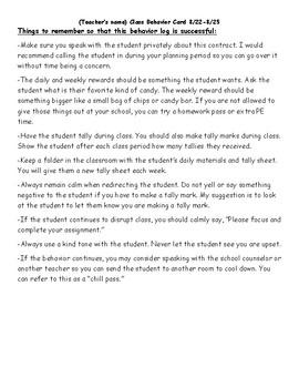 Classroom Management Card