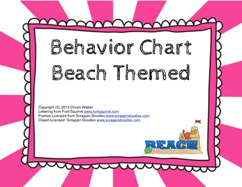 Classroom Behavior Chart Beach Themed