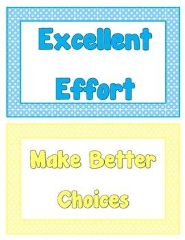 Classroom Behavior Chart - Polka Dot Theme