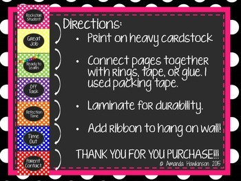 Classroom Behavior Charts & Sticker Charts: Polka Dot & Chalkboard Themed