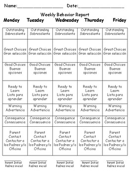 Classroom Behavior Clip Chart- English and Spanish