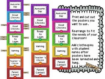 Classroom Behavior Clip Chart {Polka Dot Theme}