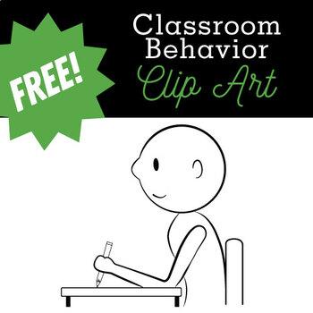 Classroom Behavior (Clipart B/W Student at Desk)