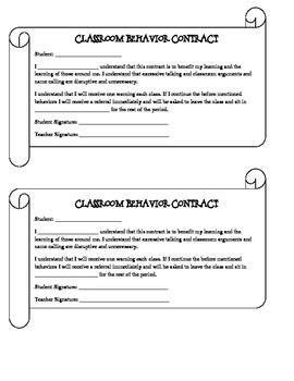 Classroom Behavior Contract - For Problem Behaviors