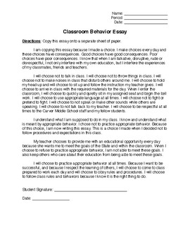 Classroom Behavior Copy Essay