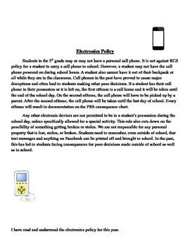 Classroom Behavior & Discipline/ Electronics Policy Contracts