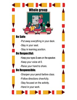 PBIS Classroom Behavior Expectation Posters -Whole group/S