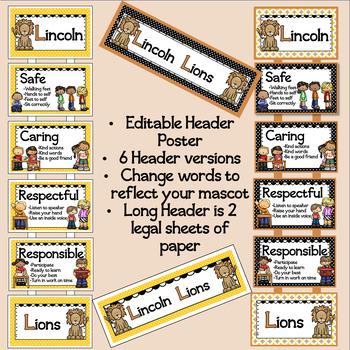 Classroom Behavior Expectation Posters Editable Lion