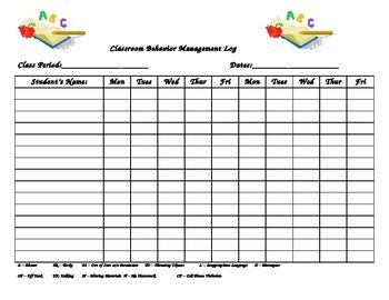 Classroom Behavior Log
