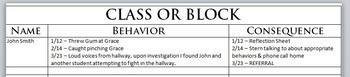 Classroom Behavior Log (DOC)