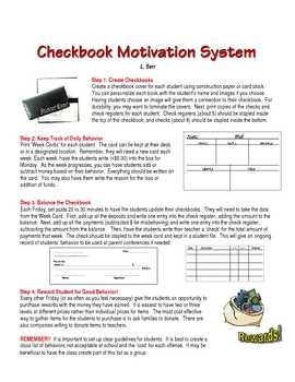 Classroom Behavior Management: Checkbook Motivation System