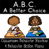 Classroom Behavior Management Rules Review and Student Action Plans Set