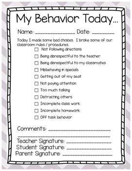 Classroom Behavior Management Student Notice - Editable