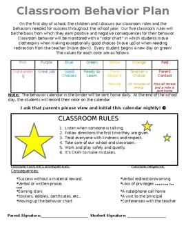 Classroom Behavior Plan