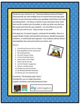 Classroom Behavior Rewards Tickets