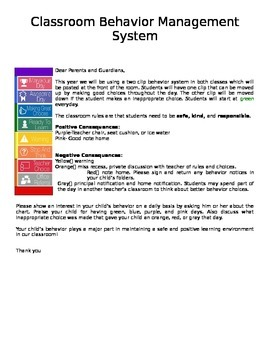 Classroom Behavior System Parent Disclosure Letter
