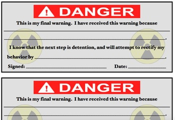 Classroom Behavior Warning Cards for Middle and High School