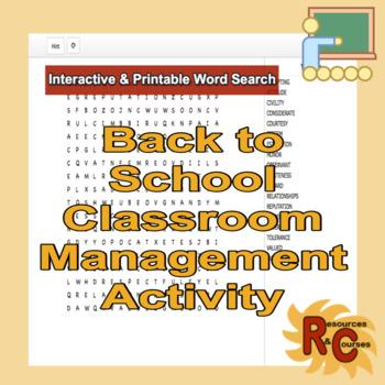Classroom Behavior Interactive & Printable Word Search Grade 4-6