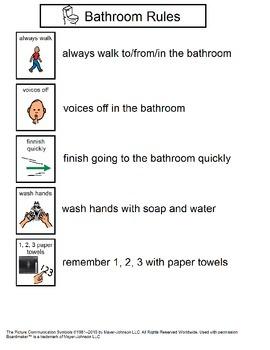 Classroom Behavioral Visuals for bathroom, walking, recess, etc.