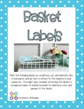 Classroom Bin & Basket Labels