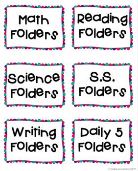 Classroom Bin Labels