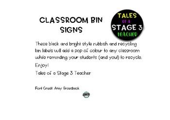 Classroom Bin Labels - Black and Bright