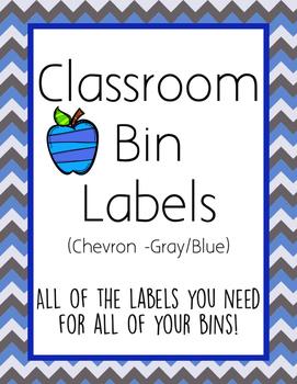 Classroom Bin Labels (Chevron - Blue/Gray)