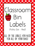 Classroom Bin Labels (Red Polka Dot)