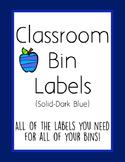 Classroom Bin Labels (Solid-Dark Blue)