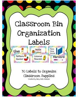 Classroom Bin Organization Labels