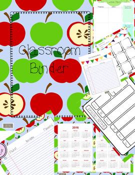 Classroom Binder/Teacher Planner, Apple Theme Organize your papers!