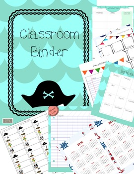 Classroom Binder-Teacher Planner, Pirate Theme