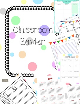 Classroom Binder/Teacher Planner, polka dots organize your papers!