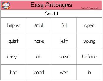 Classroom Bingo - Easy Antonyms