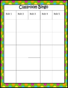 Classroom Bingo Editable