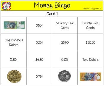 Classroom Bingo - Money
