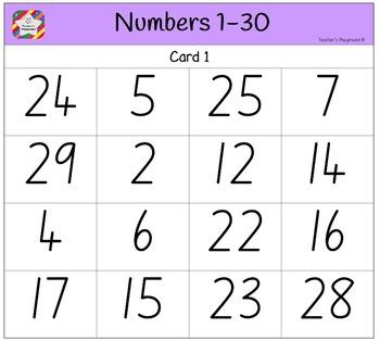 photo relating to Bingo Calls Printable identify Clroom Bingo - Figures 1-30