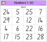 Classroom Bingo - Numbers 1-30