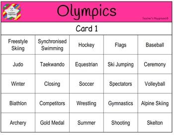 Classroom Bingo - Olympics