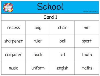 Classroom Bingo - School