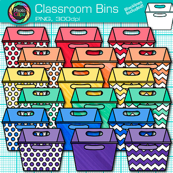 Classroom Bins Clip Art {Rainbow Containers for Classroom Library Resources}