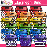 Classroom Bins Clip Art | Rainbow Containers for School Library Resources