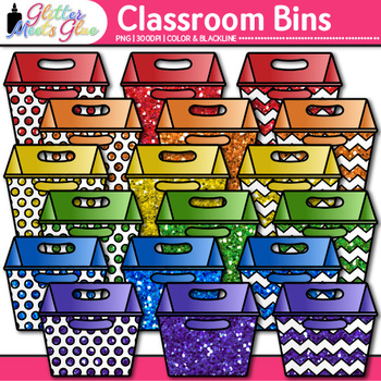 Classroom Bins Clip Art   Rainbow Containers for School Library Resources