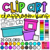 Classroom Bins Clip Art / Set of 69 Images