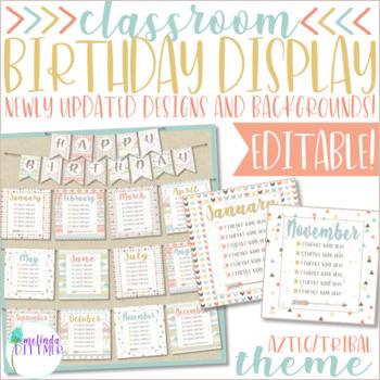 Classroom Birthday Display {Aztec / Tribal Theme}