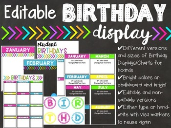 Classroom Birthday Display {Chalkboard and Brights}
