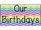 Classroom Birthday Display Chart