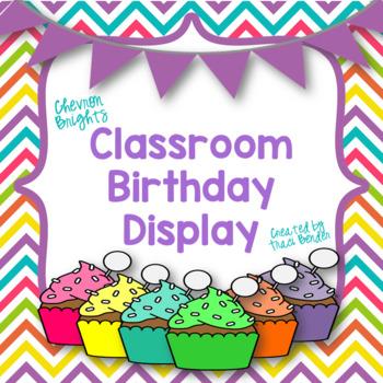 Classroom Birthday Display {Chevron Brights}