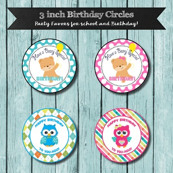 Classroom Birthday Favors, 3 inch Circles, Cute Happy Birthday Wishes