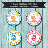 Classroom Birthday Favors, 3 inch Circles, Cute Happy Birt